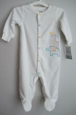 CARTER'S BABY ELEPHANT AND GIRAFFE LONG SLEEVE COVERALL  9 month (white)