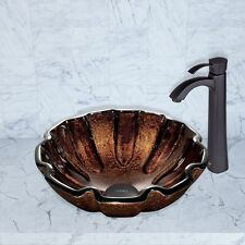 Vigo VGT423 Walnut Shell Glass Vessel Sink and Otis Faucet Set Matte Black