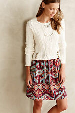 Anthropologie Duxbury Dress Sz L, Cabled Knit Top Mixed Fabrics Twofer By Lilka