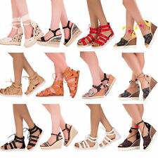 Womens gladiator strappy lace up summer sandals flat Ladies shoe size 3-8