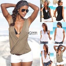 Women's Sexy V-neck Summer Casual Vest Tops Sleeveless Blouse Tank Top T-Shirt