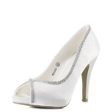 Womens Peep Toe Wedding Party Diamante Ivory Summer High Heel Shoes Shu Size