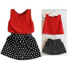 Baby Clothing Sets Girls Sleeveless T-Shirts Vest +Dress Two Pieces Clothes Set