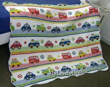 """Riding Along.."" Vehicles Quilted Baby Cot Crib Quilt Throw BOY - Clearance-Flaw"