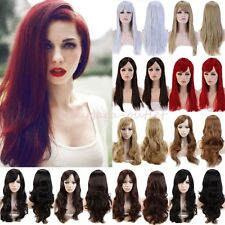 """19""""-23"""" Straight Curly Wig Women Long Cosplay Party Natural Wavy Hair Wigs Cap"""
