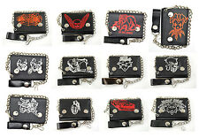 Biker Chain Wallet Genuine Leather Tri Fold Black 12 Designs Made in USA