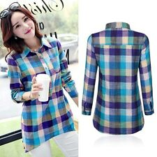Trendy Women Ladies Casual Long Sleeve Cotton Linen Top Loose Plaid Shirt Blouse