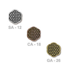 TierraCast Flower of Life Button - plated pewter - choose from 3 colors