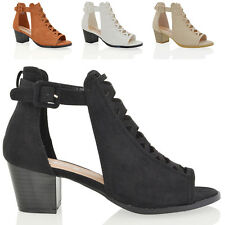 NEW WOMENS LOW HEEL PLATFORM SANDALS LADIES LACE UP CUT OUT STRAPPY SHOES