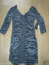 Forever Unique Party Mini Stretch Bodycon Dress Ruched Silver Blue 8 10 12 New