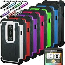 Rugged Rubber Matte Hybrid Hard Case Cover HTC EVO 3D Sprint + Screen Protector