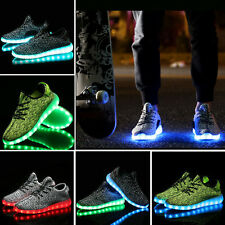 Womens Men Outdoor LED Light UP Shoes Luminous Sneakers Athletic Knit Shoes#AUS