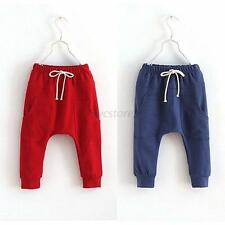 Baby Child Toddler Boy Girl Cotton Harem Pants Solid Stretch Trousers 2-7Y