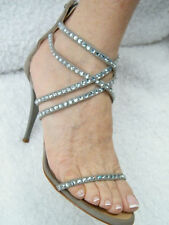 GIUSEPPE ZANOTTI SHOES sandals silver grey suede stones