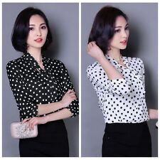 Elegant Women's Polka Dot Bow Tie Collar Chiffon 3/4 Sleeve Blouse Shirt Tops