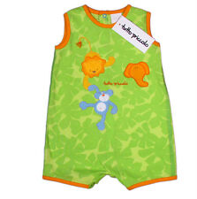 "TUTTO PICCOLO ""Lion Elephant Monkey Löwe Affe"" romper-suit one-piece (green) NEW"
