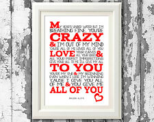 John Legend All Of Me Song Lyric Poster Typography Print Design Lyric Wall Art