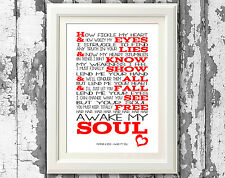 Mumford and Sons Awake My Soul Song Lyric Poster Typography Print Lyric Wall Art