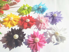 20-100PCS Satin Ribbon Flower with pearl Wedding Scrapbooking Sewing Appliques