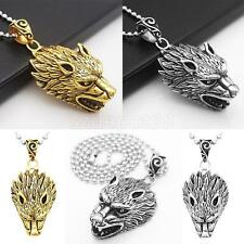 Men's Punk Stainless Steel Cool Wolf's Head Pendant Necklace Jewelry 2 Colors