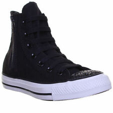 Converse Chuck Taylor All Star Black Side Zip Sparkle Toe Shoes Women's 545056