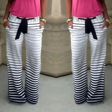 New Women's Stripe Casual Stretch Pants Wide Leg Long Loose Trousers