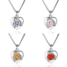 Fashion Women 925 Sterling Silver Heart Pendant Necklace Chain Jewelry Love Gift