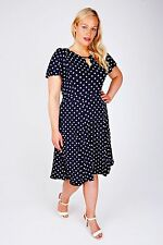 Plus Size SCARLETT & JO Navy & White Polka Dot Dress With Keyhole Detail