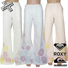 QUIKSILVER ROXY 'WASABE' LINEN TROUSERS FLARES 8 10 12 14 SURF BNWT RRP £50