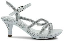 GIRLS RHINESTONE JEWELED ANKLE BUCKLE STRAPPY SANDALS WHITE SIZE 12-6