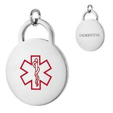 DEMENTIA  Stainless Steel Medical Alert Round Pendant / Charm, Bead Ball Chain