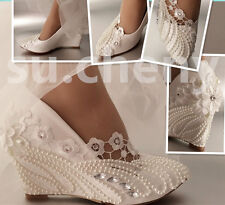 "3"" heel ivory lace pearls crystal Wedding shoes high wedges bridal size 5-10.5"