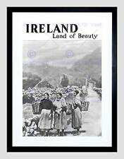 TRAVEL IRELAND LAND BEAUTY BLACK WHITE RURAL FRAMED ART PRINT B12X7851
