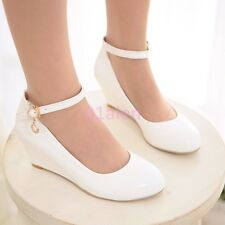Z Fashion Womens Lady's Mid Wedge Heel Ankle Strap Wedding Bridal Sweet Shoes