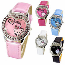 Women Ladies Girls Kids Pink Hello Kitty Synthetic Leather Wrist Watch, Crystals