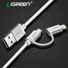 Ugreen Micro USB + Lightning Data Sync Charger Adapter Cable For iPhone Android