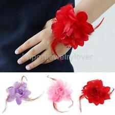 Bridal Bridesmaid Wrist Corsage Hand Flowers with Feather Wedding Party Decor