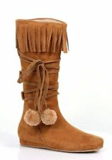Ellie Shoes 014-DAKOTA 1 Inch Heel Boot With Fringe And Poms Childrens.