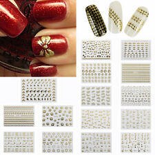 3D Nail Art DecalBowknot Butterfly Heart Skull Lace Metallic Glitter Sticker