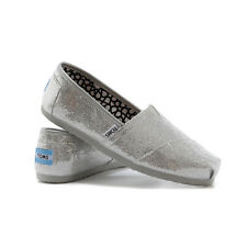 Toms Classic Silvery Glitter Canvas Flats Espadrilles Womens US Size