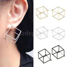3 Colors Hollow-Out Cube Earrings Alloy Stud Earring Geometric Fashion Ear Studs