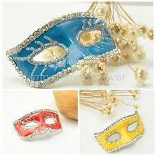 Vintage Alloy Rhinestone Crystal Wedding Bridal Halloween Mask Brooch Pin
