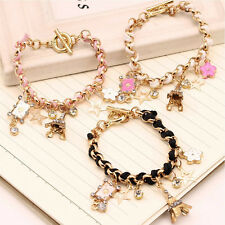 Hot Girls Fashion Jewelry Lovely Crystal Leather Gold Chain Bangle Bracelet Gift