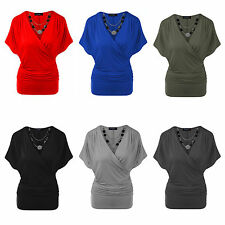 NEW WOMENS LADIES STRETCH WRAP CROSSOVER V NECK SEXY NECKLACE BATWING TOP TUNIC