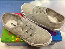 Lil Hazel's Girls Silver Glitter Lace Up Sneaker Toddler Size 5 to Youth Size 4