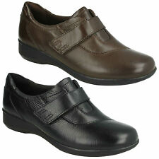GAEL BOMBAY LADIES CLARKS BLACK BROWN LEATHER WIDE CASUAL TROUSER RIPTAPE SHOES