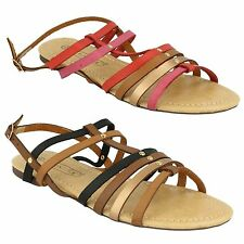 LADIES SHOES SPOT ON STRAPPY COLOUR PANEL GLADIATOR SUMMER SANDALS F0699