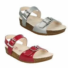 VOLKINICON GIRLS CLARKS SILVER & RASPBERRY F FIT COATED LEATHER OPEN TOE SANDALS