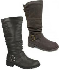 F50321 - LADIES SPOT ON ROUND TOE ZIP UP & BUCKLE CASUAL MID CALF BOOTS