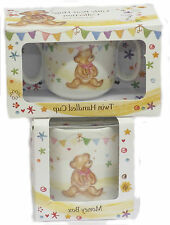 JENNIFER ROSE LITTLE BEAR HUGS COLLECTION KIDS MONEY BOX AND TWIN HANDLE CUPS